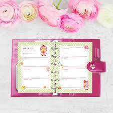Cute Planners Printable A5 Weekly Kawaii Planner Sweet Angel Bird