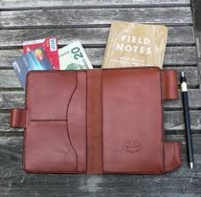 field notes leather cover notebook journal wallet chestnut brown leather hand sched by ga