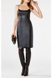 bcbg max azria faux leather dress front full image