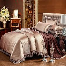 silver coffee silk satin luxury queen king size bedding set bed set lace duvet cover cotton bed sheet fitted sheet parure de lit comforter sets black