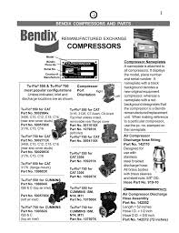 Bendix Tu Flo 501 Air Compressor Product Specifications