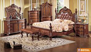 Rich Cherry Finish Leather Upholstered Elegant Bed wOptions