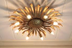 mid20th century large gilt iron hollywood regency sunburst ceiling light fixture spain 1960s light fixtures a40