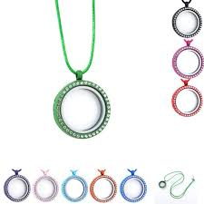 whole fashion 30mm multicolor round floating memory locket necklace with clear rhinestone living magnetic glass lockets necklaces whole diamond