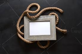 Nautical Rustic Rope And Wood Picture Frames On Chalkboard Background Mockup