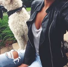 jacket leather jeans ripped jeans fashion dog cute outfits outfit t shirt outfit grey t