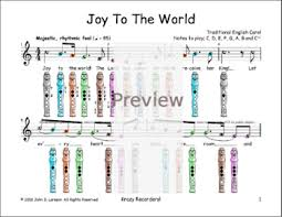 Joy To The World C Christmas Sheet Music For Recorder