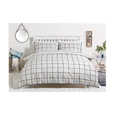 blue check stripe printed bedding king