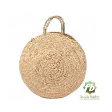 <b>Round straw bag</b> medium wicker basket natural <b>Handles</b> : French ...