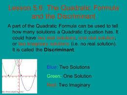 lesson 5 6 the quadratic formula and the discriminant