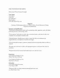 Resume Sample Waiter Resume Samples Waiter Server Luxury Serving Resume Inspirational 60 7