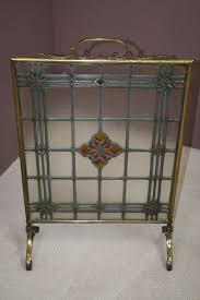 edwardian leaded glass brass framed fire screen antique fire screens edwardian brass fire screen