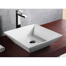 Square Sinks Bathroom Shop Nameeks Ceramica White Ceramic Vessel Square Bathroom Sink At