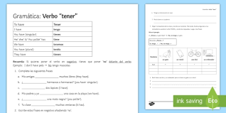 Spanish Ser Chart Verb Tener Spanish Worksheet Language Resource Twinkl