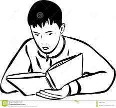 boy reading a book outline stock vector ilration of beautiful 20897483