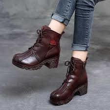 gktinoo genuine leather boots women soft 2018 autumn fashion shoes woman square high heels boots for women s shoes martin