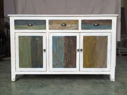 Rustic Kitchen Sideboard Rustic Distressed White Furniture With Multi Color Drawers Doors