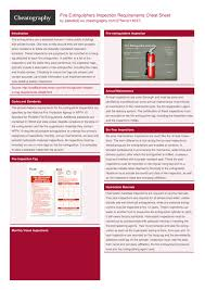 Fire extinguishers must be given a monthly visual inspection, an annual inspection and maintenance, and hydrostatic testing completed every 12 years. Fire Extinguishers Inspection Requirements Cheat Sheet By Deleted Download Free From Cheatography Cheatography Com Cheat Sheets For Every Occasion