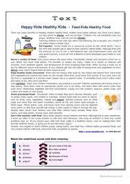 esl healthy worksheets healthy eating habits
