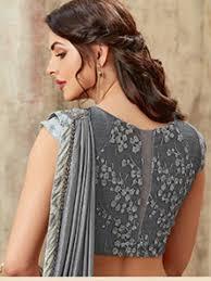 Grey Color Designer Blouse Grey Color Designer Womens Party Wear Border Saree With Emb