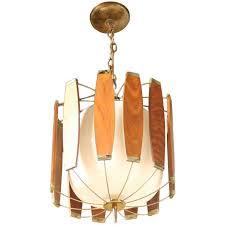 mid century modern wood chandelier vintage teak and brass mid century danish modern light fixture chandelier