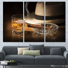 2018 3 panels canvas art alcohol ciger hat silence home decor wall art painting canvas prints pictures for living room poster xa1129c from weichenart