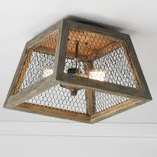 Chicken Wire Square Shade Ceiling Light weathered_wood