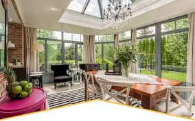 Home Interiors:Comfortable Sunroom Design With Forest View And Wooden  Dinner Table And Glass Windows