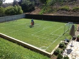 Football Field In  AllGreen GrassFootball Field In Backyard