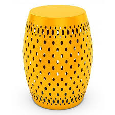 patio stool: dar metal garden stool aud a liked on polyvore featuring home outdoors patio furniture outdoor stools yellow painted side tables metal end table