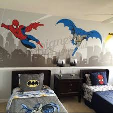 batman and spiderman with cityscape wall decal