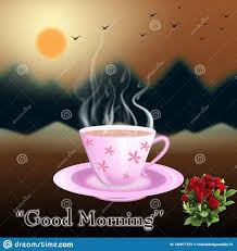 tea cup with good morning le image