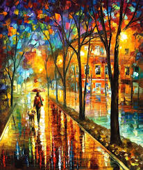 stroll with my best friend palette knife landscape oil painting on canvas by leonid afremov
