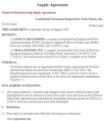Sample Supplier Agreement Template Supply Agreements Free Basic S ...
