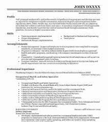 Resume For Healthcare Occupational Health And Safety Specialist Objectives Resume