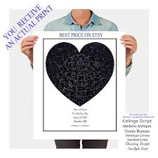 Etsy Star Chart Custom Star Map Star Chart Night Sky Print The Heavenly Sky Choose Type Constellations Stars And Grid Star Map Poster White Heart