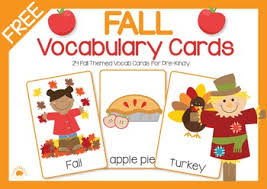 vocab cards with pictures free fall vocabulary cards speech therapy fall pinterest