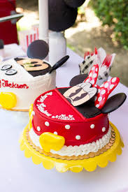 Twins Mickey Minnie Mouse Themed Birthday Party Freutcake