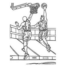 coloring pages of basketball. Fine Basketball Player Trying To Block The Ball In Basketball Game Coloring Pages And Of L