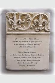 fleur de lis wedding invitation. custom wedding invitation stone plaque double fleur de lis short