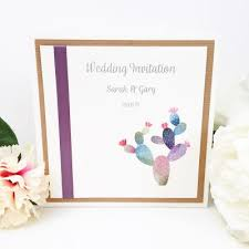 Cactus Theme Wedding Invitations With Ribbon And Rustic Kraft Card