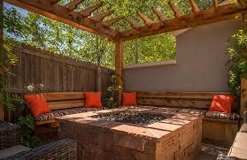 outdoor room fire pit pergola custom bench