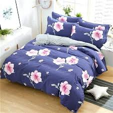 natori cherry blossom duvet cover king cotton pink flowers bedding sets girl teen navy blue pillowcase