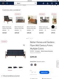 better homes and gardens flynn mid century futon