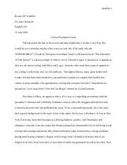 week assignment critical evaluation essay last now 4 pages critical evaluation essay