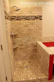 tiling shower floor curb and knee wall