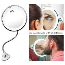 Flexible Lighted Makeup Mirror Boxed 10x Magnifying Led Mirror 360 Rotation Flexible