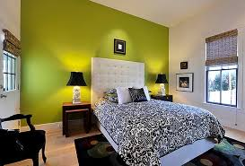 View in gallery Green accent wall in the black and white bedroom