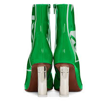2018 new classic lighter inspired 10 cm high heels short boots green genuine leather painting letter