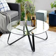 clear tempered glass round coffee table 40cm height 80x80 size black metal legs